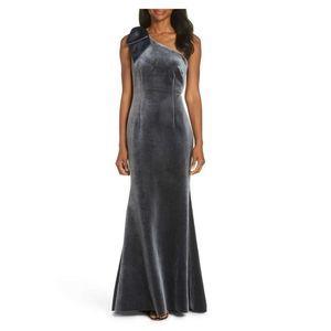 Eliza J Bow One Shoulder Formal Velvet Gown Dress